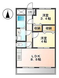 エスポワール八田[4階]の間取り