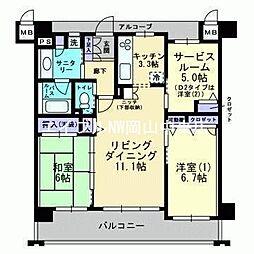 岡山県岡山市中区浜2丁目の賃貸マンションの間取り