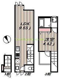 東急東横線 学芸大学駅 徒歩7分の賃貸アパート 2階1LDKの間取り