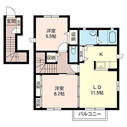 コンフォルトB[2階]の間取り