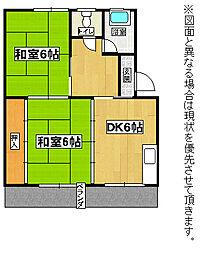 福岡県北九州市八幡西区泉ケ浦2丁目の賃貸アパートの間取り