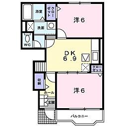 エアリーガーデンM・Y A[1階]の間取り