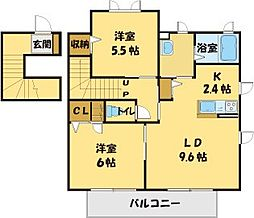 埼玉県川越市大塚2丁目の賃貸アパートの間取り