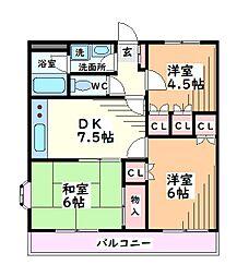 東京都日野市神明4丁目の賃貸マンションの間取り