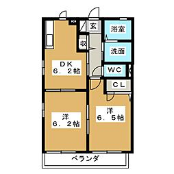 ユウディアスナカA[2階]の間取り