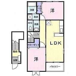 埼玉県熊谷市妻沼東3丁目の賃貸アパートの間取り