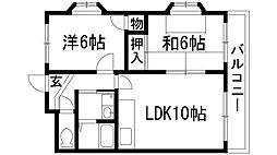 ライフイン宝塚3[3階]の間取り