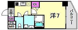 ファステート神戸アモーレ 9階1Kの間取り