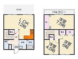 JR阪和線 和泉府中駅 徒歩18分の賃貸テラスハウス 1階3LDKの間取り