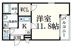 シリンクス岡本II 2階1Kの間取り