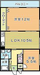 安部山スカイマンション[211号室]の間取り