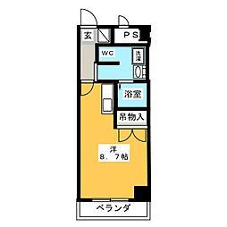 UMEX-9 3階ワンルームの間取り
