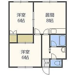 北海道札幌市白石区栄通1丁目の賃貸アパートの間取り