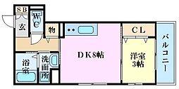 エルクルー舟入 1階1DKの間取り