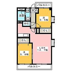 ソ・レーユ松田[4階]の間取り