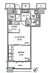都営大江戸線 勝どき駅 徒歩5分の賃貸マンション 7階1LDKの間取り