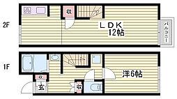 山陽電鉄網干線 平松駅 徒歩10分の賃貸アパート 1階1LDKの間取り