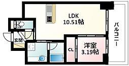 Osaka Metro御堂筋線 江坂駅 徒歩5分の賃貸マンション 11階1LDKの間取り
