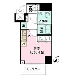 JR中央線 豊田駅 徒歩2分の賃貸マンション 7階ワンルームの間取り