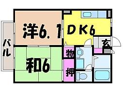 愛媛県松山市南江戸3丁目の賃貸アパートの間取り