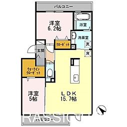 大阪府堺市北区百舌鳥西之町3丁の賃貸アパートの間取り