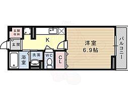 JR東海道・山陽本線 摂津富田駅 徒歩20分の賃貸アパート 2階1Kの間取り