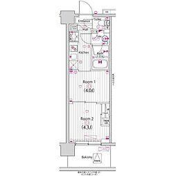 ガーラ・パークサイド木場(ガーラパークサイドキバ) 2階2Kの間取り