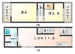[テラスハウス] 大阪府守口市梶町3丁目 の賃貸【/】の間取り