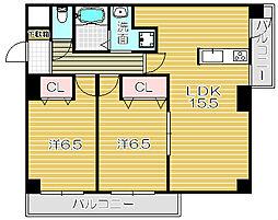 大阪府高槻市別所本町の賃貸マンションの間取り
