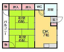 石川アパート[1階]の間取り