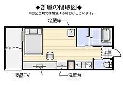 MakishiII 2階ワンルームの間取り