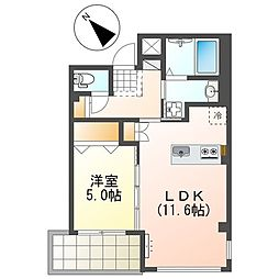JR山陽本線 魚住駅 徒歩2分の賃貸マンション 1階1LDKの間取り