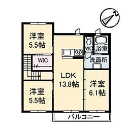 エクレール長楽寺 B棟[2階]の間取り
