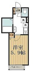 バークレーコート高円寺 1階1Kの間取り