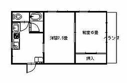 河田ハイツ[201号室]の間取り