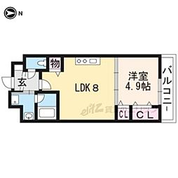 JR山陰本線 円町駅 徒歩14分の賃貸マンション 1階1LDKの間取り