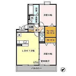 茨城県守谷市本町の賃貸アパートの間取り