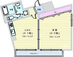 Osaka Metro中央線 阿波座駅 徒歩5分の賃貸マンション 6階1LDKの間取り