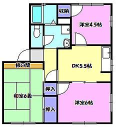 サンフラワーハイツC棟[2階]の間取り