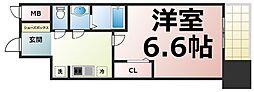 アドバンス大阪ブリアント 12階1Kの間取り