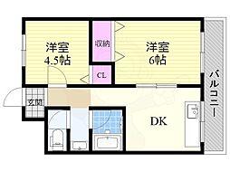第二吉田屋ハイツ 2階2DKの間取り