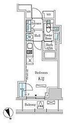 東京メトロ日比谷線 神谷町駅 徒歩8分の賃貸マンション 10階ワンルームの間取り