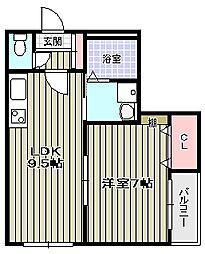 クィーンライフ桑津[2階]の間取り