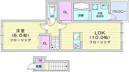 仙台市営南北線 泉中央駅 5kmの賃貸アパート 2階1LDKの間取り