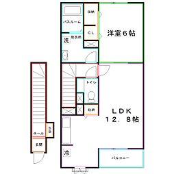 JR中央本線 西国分寺駅 徒歩14分の賃貸アパート 2階1LDKの間取り