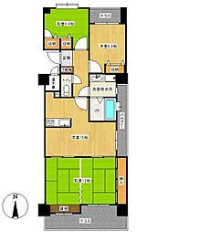 ロワールマンション新室見[5階]の間取り