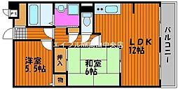 岡山県岡山市北区高柳西町の賃貸マンションの間取り