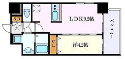 名鉄名古屋本線 山王駅 徒歩9分の賃貸マンション 4階1LDKの間取り