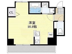 AXIS平尾1番館 4階ワンルームの間取り