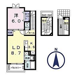 ルストパラディI[3階]の間取り
